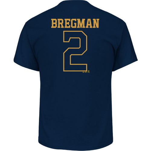 Majestic Men's Houston Astros Alex Bregman 2 Gold Name and Number T-shirt