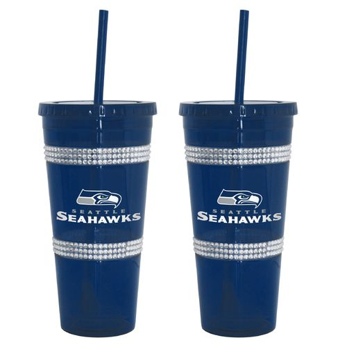 Boelter Brands Seattle Seahawks 22 oz. Bling Straw Tumblers 2-Pack