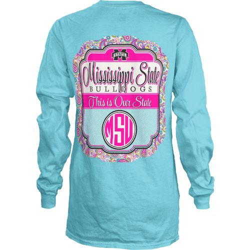 Three Squared Juniors' Mississippi State University Paisley Frame T-shirt