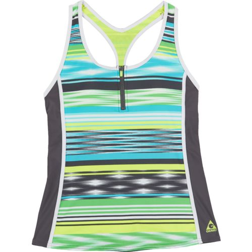 Gerry Women's Zipper Sport Tankini Swim Top