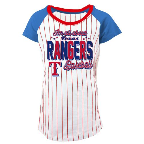 5th & Ocean Clothing Girls' Texas Rangers Pinstripe Raglan Scoop T-shirt