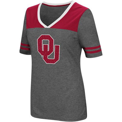 Colosseum Athletics Women's University of Oklahoma Twist V-neck 2.3 T-shirt