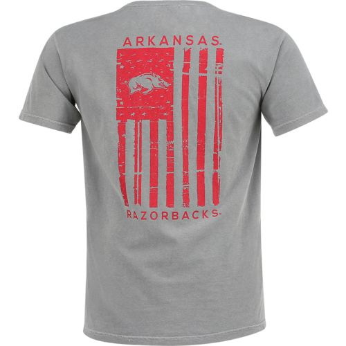 Image One Men's University of Arkansas Comfort Color Distressed Flag T-shirt
