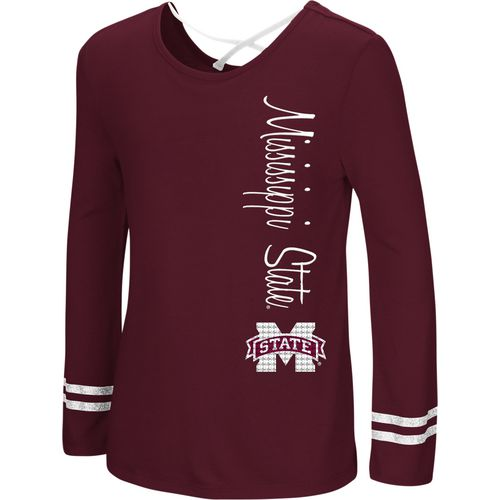 Colosseum Athletics Girls' Mississippi State University Marks the Spot Strappy Back Long Sleeve T-sh