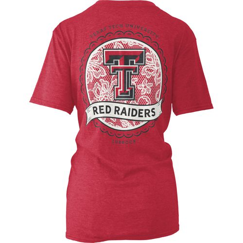 Three Squared Women's Texas Tech University Lace Emblem Melange T-shirt