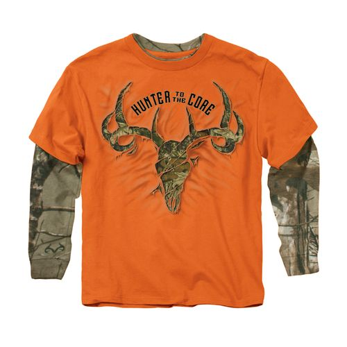 Buck wear boys 39 core rip camo 2 fer long sleeve t shirt for Two bucks t shirts
