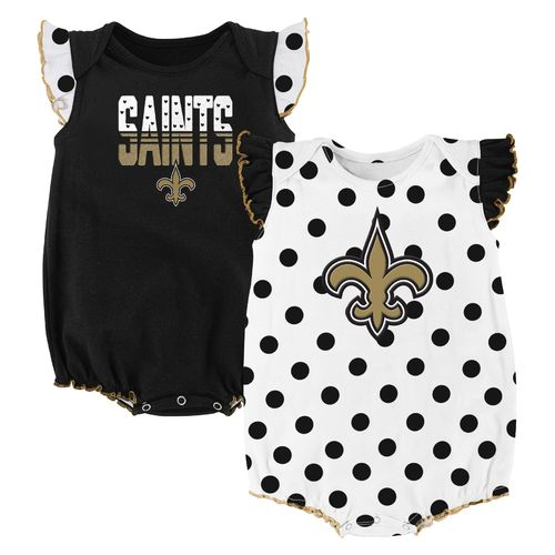 NFL Infant Girls' New Orleans Saints Polka Fan Creepers 2-Pack