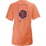 Three Squared Juniors' Auburn University Quatrefoil State Monogram T-shirt