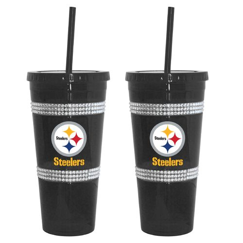 Boelter Brands Pittsburgh Steelers 22 oz. Bling Straw Tumblers 2-Pack
