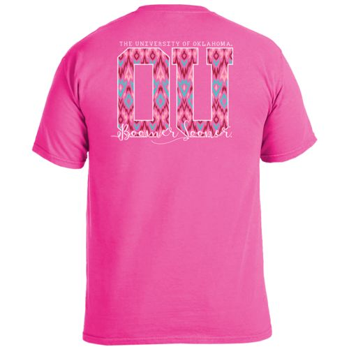 Image One Women's University of Oklahoma Ikat Letter Script T-shirt