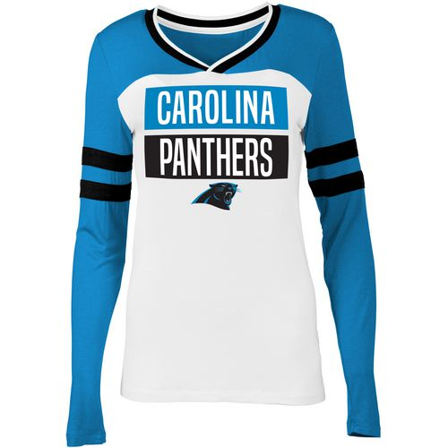 5th & Ocean Clothing Women's Carolina Panthers Block Fan Long Sleeve Shirt