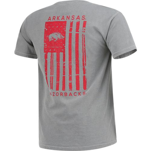Image One Men's University of Arkansas Comfort Color Distressed Flag T-shirt - view number 2