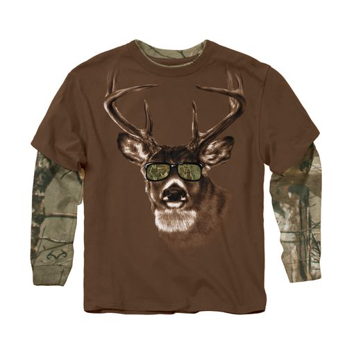Buck wear boys 39 camo sunglasses 2 fer t shirt academy for Two bucks t shirts