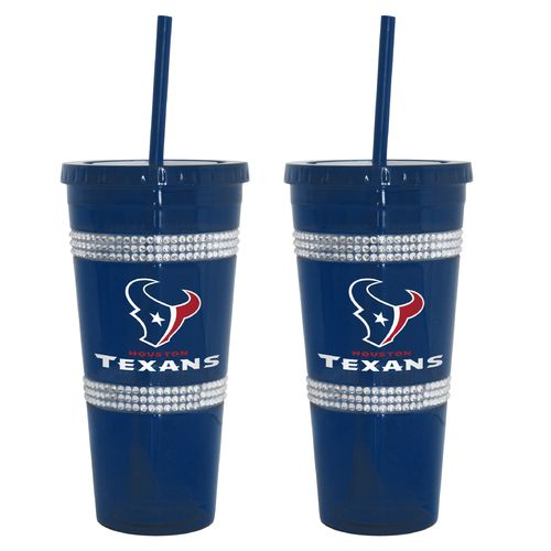 Hot Boelter Brands Houston Texans 22 oz. Bling Straw Tumblers 2-Pack free shipping