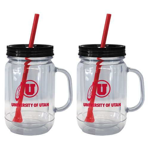 Boelter Brands University of Utah 20 oz. Handled Straw Tumblers 2-Pack