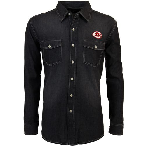 Antigua Men's Cincinnati Reds Long Sleeve Button Down Chambray Shirt - view number 1