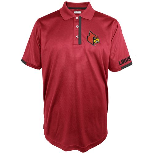 Majestic Men's University of Louisville Section 101 Short Sleeve Colorblock Synthetic Polo Shirt