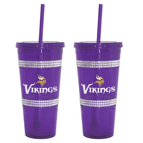 Boelter Brands Minnesota Vikings 22 oz. Bling Straw Tumblers 2-Pack