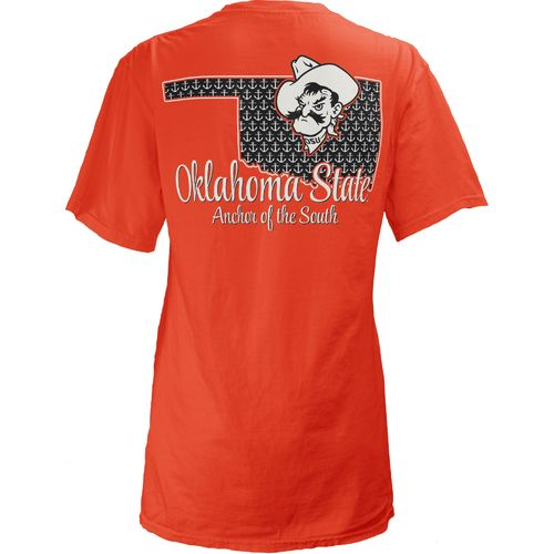 Three Squared Juniors' Oklahoma State University State Monogram Anchor T-shirt