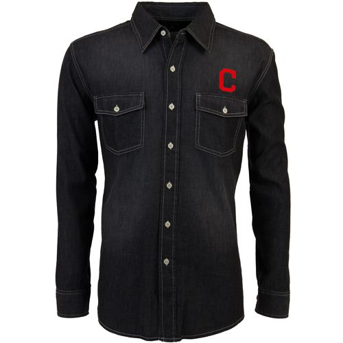 Antigua Men's Cleveland Indians Long Sleeve Button Down Chambray Shirt