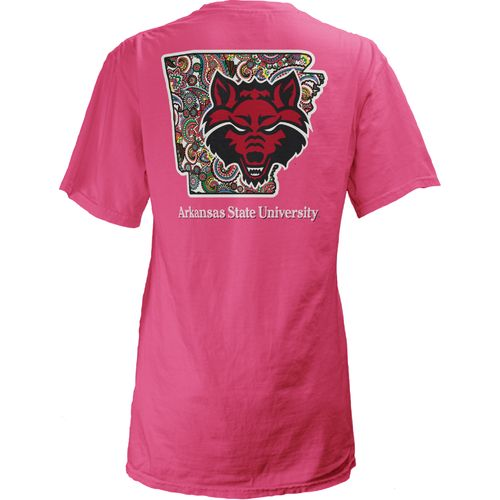 Three Squared Juniors' Arkansas State University Preppy Paisley T-shirt