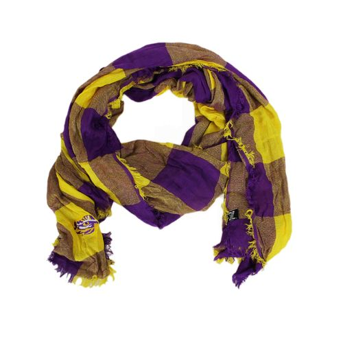 ZooZatz Women's Louisiana State University Buffalo Check Collegiate Scarf