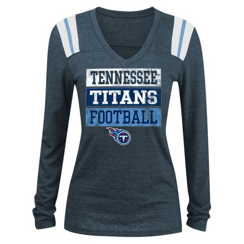 5th & Ocean Clothing Women's Tennessee Titans Block Lettering Long Sleeve T-shirt