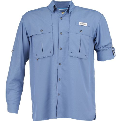 Magellan Outdoors Men's Aransas Pass Mini Check Long Sleeve Fishing Shirt