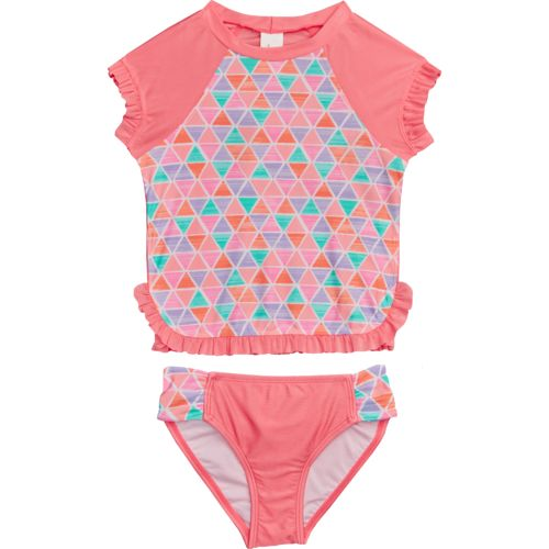 O'Rageous Kids Girls' Textured Pyramids 2-Piece Rash Guard Swimsuit