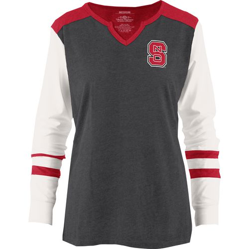Three Squared Juniors' North Carolina State University Mia Raglan Long Sleeve Henley Shirt