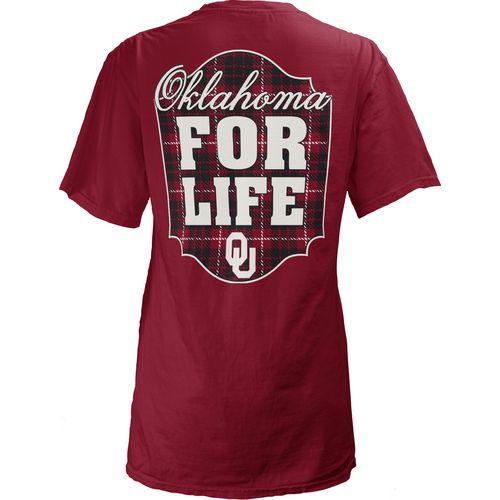 Three Squared Juniors' University of Oklahoma Team For Life Short Sleeve V-neck T-shirt - view number 1