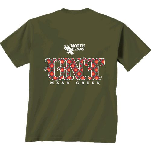 New World Graphics Women's University of North Texas Comfort Color Initial Pattern T-shirt