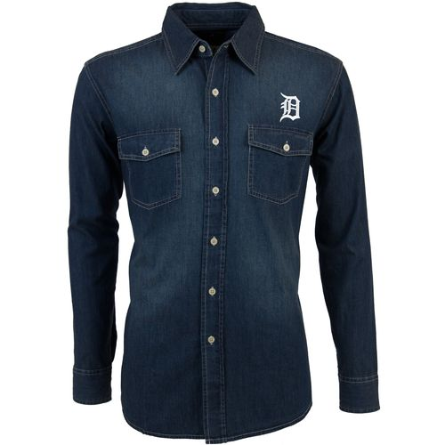 Antigua Men's Detroit Tigers Long Sleeve Button Down Chambray Shirt