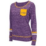 Colosseum Athletics™ Women's Louisiana State University Homies Raw Edge Pocket T-shirt