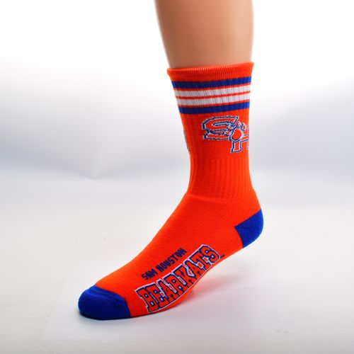 For Bare Feet Men's Sam Houston State University 4-Stripe Deuce Crew Socks