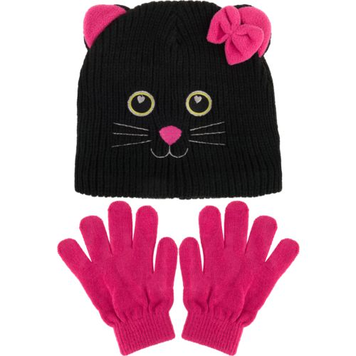 Magellan Outdoors Girls' Kitty Critter Hat and Gloves Set