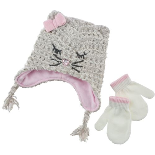 ABG Accessories Girls' Kitty Hat and Mitten Set