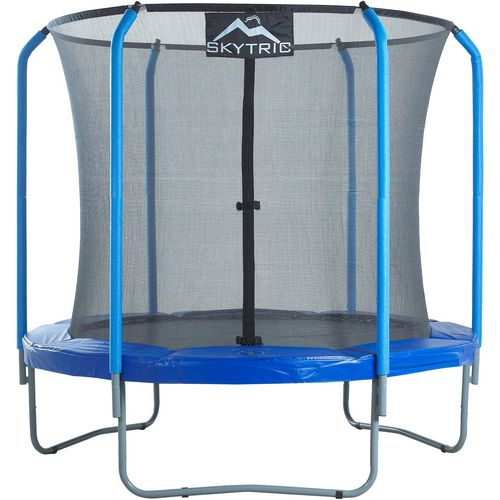 Upper Bounce SKYTRIC 8 ft Round Trampoline with Top Ring Enclosure System