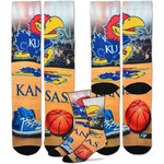 For Bare Feet Men's University of Kansas Mascot Montage Sublimated Crew Socks - view number 1