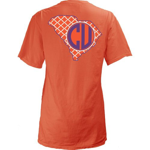 Three Squared Juniors' Clemson University Quatrefoil State Monogram T-shirt