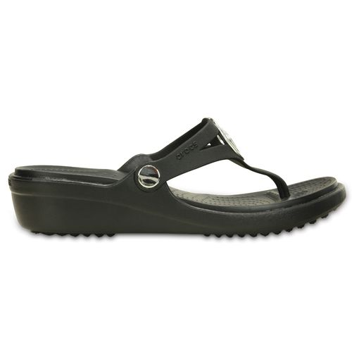 Display product reviews for Crocs Women's Sanrah Beveled Circle Wedge Flip-Flops