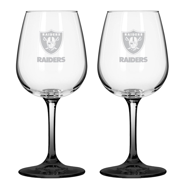 Boelter Brands Oakland Raiders 12 oz. Wine Glasses