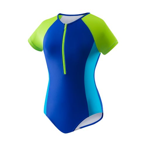 Speedo Girls' Short Sleeve Zip 1-Piece Swimsuit