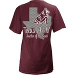 Three Squared Juniors' Texas A&M University State Monogram Anchor T-shirt