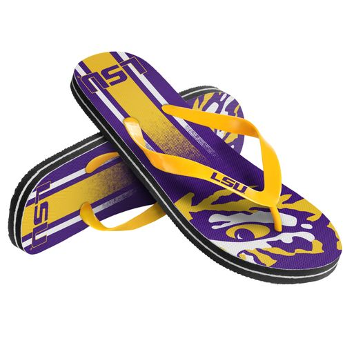 Forever Collectibles™ Kids' Louisiana State University Wordmark Stripe Flip-Flops
