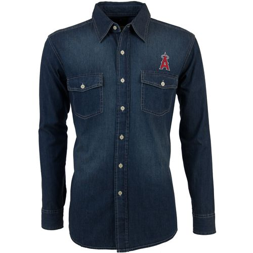 Antigua Men's Los Angeles Angels of Anaheim Long Sleeve Button Down Chambray Shirt