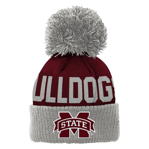adidas™ Boys' Mississippi State University Cuffed Knit Cap with Pom