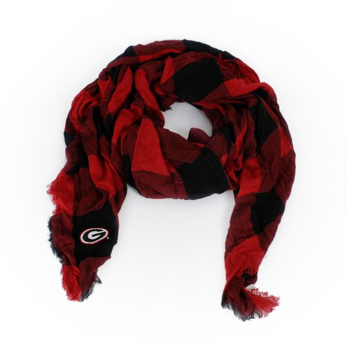 ZooZatz Women's University of Georgia Buffalo Check Collegiate Scarf