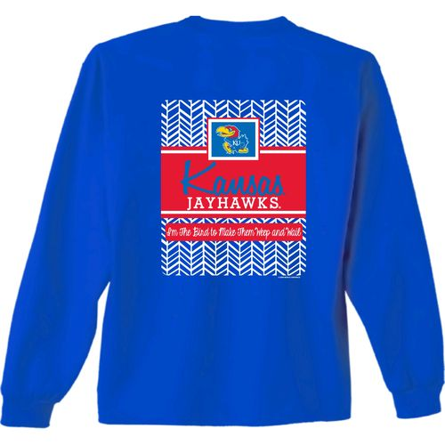 New World Graphics Women's University of Kansas Herringbone Long Sleeve T-shirt