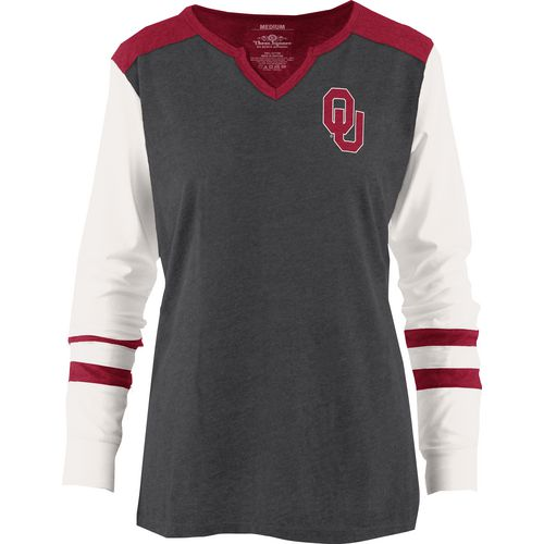 Three Squared Juniors' University of Oklahoma Mia Raglan Long Sleeve Henley Shirt